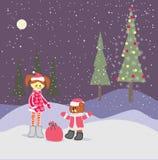 Предпосылка с маленькой девочкой рождества и медведем Санта Клауса Стоковая Фотография RF