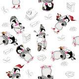 Предпосылка с милыми пингвинами иллюстрация штока