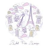 Предпосылка с музыкой и путешествием Eiffel Стоковые Фотографии RF