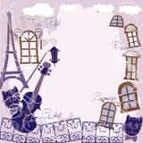 Предпосылка с музыкой, котом и голубым городом иллюстрация вектора