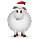 Предпосылка с овцами Санты Стоковое Фото