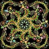 Предпосылка с орнаментом золота и листьями драгоценных камней Стоковая Фотография