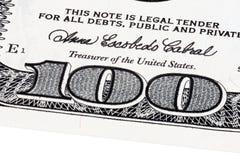 Предпосылка с долларовыми банкнотами американца 100 денег штабелировала съемку Стоковая Фотография