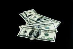 Предпосылка с долларовыми банкнотами американца денег Стоковые Фотографии RF