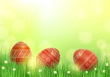 Предпосылка с пасхальными яйцами в траве Стоковая Фотография
