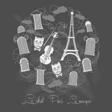 Предпосылка с путешествием Eiffel на chalkrboard Стоковые Фотографии RF