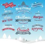 Предпосылка с Рождеством Христовым и счастливого Нового Года типографская Стоковое Фото