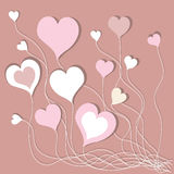 Предпосылка с розовыми сердцами Стоковое фото RF