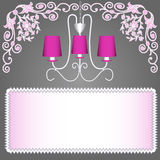 Предпосылка с розовым канделябром для приглашений Стоковая Фотография