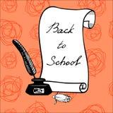 Предпосылка с рукописной надписью назад к школе Иллюстрация вектора