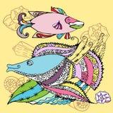 Предпосылка с 2 рыбами Стоковое Изображение