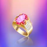 Предпосылка с самоцветом и отражением кольца золота Стоковые Изображения