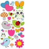 Предпосылка с сердцем, цветком, грибами, бабочкой и птицами Стоковое Изображение RF