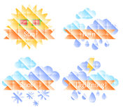 Предпосылка с солнцем, облаками, радугой и дождем Стоковые Изображения RF