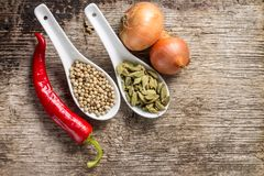Предпосылка с специями и овощами на древесине Стоковая Фотография