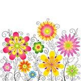 Предпосылка с стилизованный цветками Стоковое Изображение