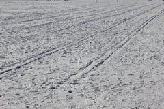 Предпосылка с трассировками снега на лыже Стоковое Фото