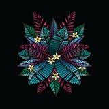 Предпосылка с тропическими заводами и цветками Стоковое Изображение RF