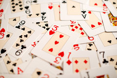 Предпосылка случайного распространения играя карточек Стоковые Фото