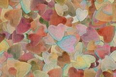Предпосылка случайно разбрасываемых сердец Стоковое Изображение RF