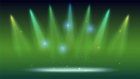 Предпосылка с лучами света от покрашенных фар Яркое освещение с фарами расцветки, репроектор посвечено Стоковые Фотографии RF