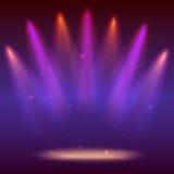 Предпосылка с лучами света от покрашенных фар Яркое освещение с фарами расцветки, репроектор посвечено Стоковая Фотография RF
