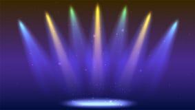 Предпосылка с лучами света от покрашенных фар Яркое освещение с фарами расцветки, репроектор посвечено Стоковое Изображение