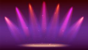 Предпосылка с лучами света от покрашенных фар Яркое освещение с фарами расцветки, репроектор посвечено Стоковое Изображение RF