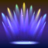 Предпосылка с лучами света от покрашенных фар Яркое освещение Стоковая Фотография