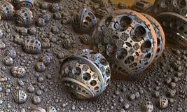 Предпосылка с фантастическими сферами 3D Стоковые Изображения
