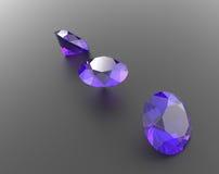 Предпосылка с фиолетовыми драгоценными камнями иллюстрация 3d Стоковые Изображения RF