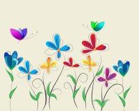 Предпосылка с цветками и бабочками Стоковое Изображение RF