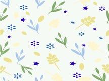 Предпосылка с цветками и листьями и звездами Стоковая Фотография