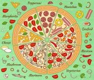 Предпосылка с частями пиццы и своими ингридиентами Стоковая Фотография