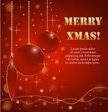 Предпосылка с шариками рождества и золотыми звездами Стоковые Фото