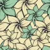 Предпосылка с экзотическими цветками, иллюстрация безшовного лета тропическая вектора Стоковая Фотография