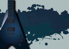Предпосылка с электрической гитарой Стоковое Изображение