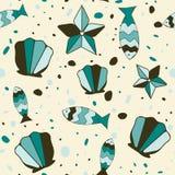 Предпосылка с cockleshells, рыбами и морскими звёздами Стоковое Изображение RF