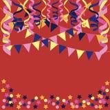 Предпосылка с confetti, бумажными лентами иллюстрация штока