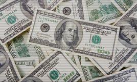 Предпосылка с scaned американцем денег 100 долларов Стоковая Фотография