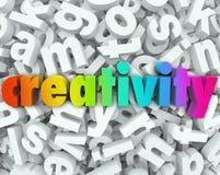 Предпосылка творческое Thinki слова письма воображения 3d творческих способностей Стоковая Фотография RF