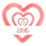 Предпосылка текста влюбленности формы сердца акварели Стоковые Изображения RF