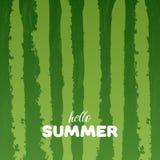 Предпосылка текстуры арбуза зеленая с здравствуйте! летом помечает буквами иллюстрацию вектора Стоковые Фото