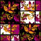Предпосылка текстуры цветочного узора осени заплатки ретро Стоковые Фото