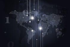 Предпосылка темноты карты мира бинарного кода Стоковое Изображение RF