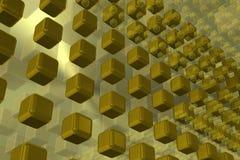 Предпосылка техника золота с кубами Стоковое Изображение