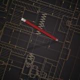 Предпосылка технических чертежей машиностроения на темноте Стоковое Фото