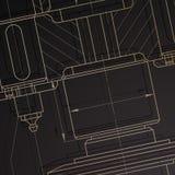 Предпосылка технических чертежей машиностроения на темноте Стоковое фото RF