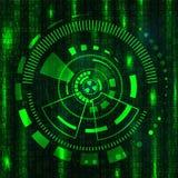 Предпосылка технологии зеленая с элементами HUD Стоковые Изображения