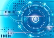 Предпосылка технологии круга абстрактная голубая Стоковое Изображение RF